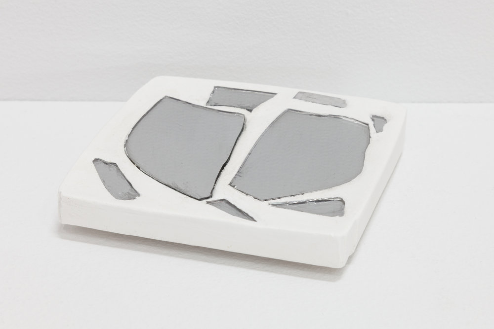 Deborah Hede,  Mirrored Shards , 2018, glass fragments, plaster, ¾ × 4 × 4 in