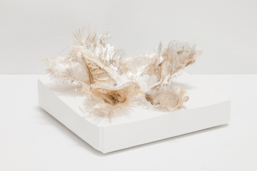 Deborah Hede,  Bow , 2018, synthetic gold fabric, plaster, 2 × 4 × 4 in