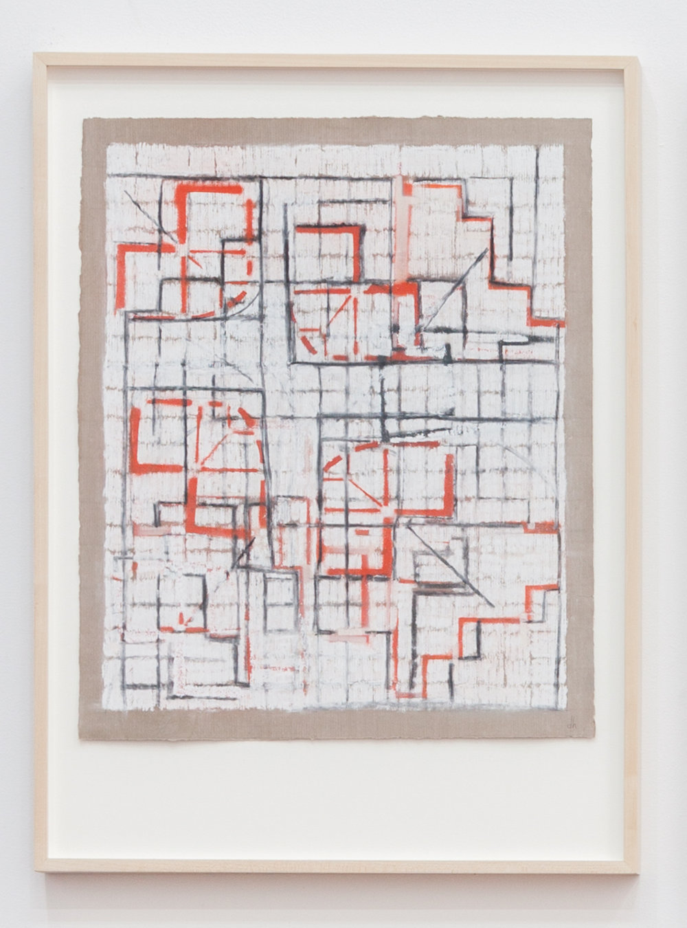 Deborah Hede,  Curb Schematic , 2010, graphite, charcoal, pastel and enamel paint on paper, 26 × 19 in