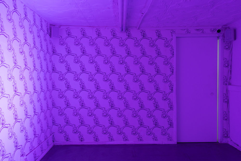 Juliana Huxtable, Untitled, 2018, custom wallpaper, wheat paste, dimensions variable