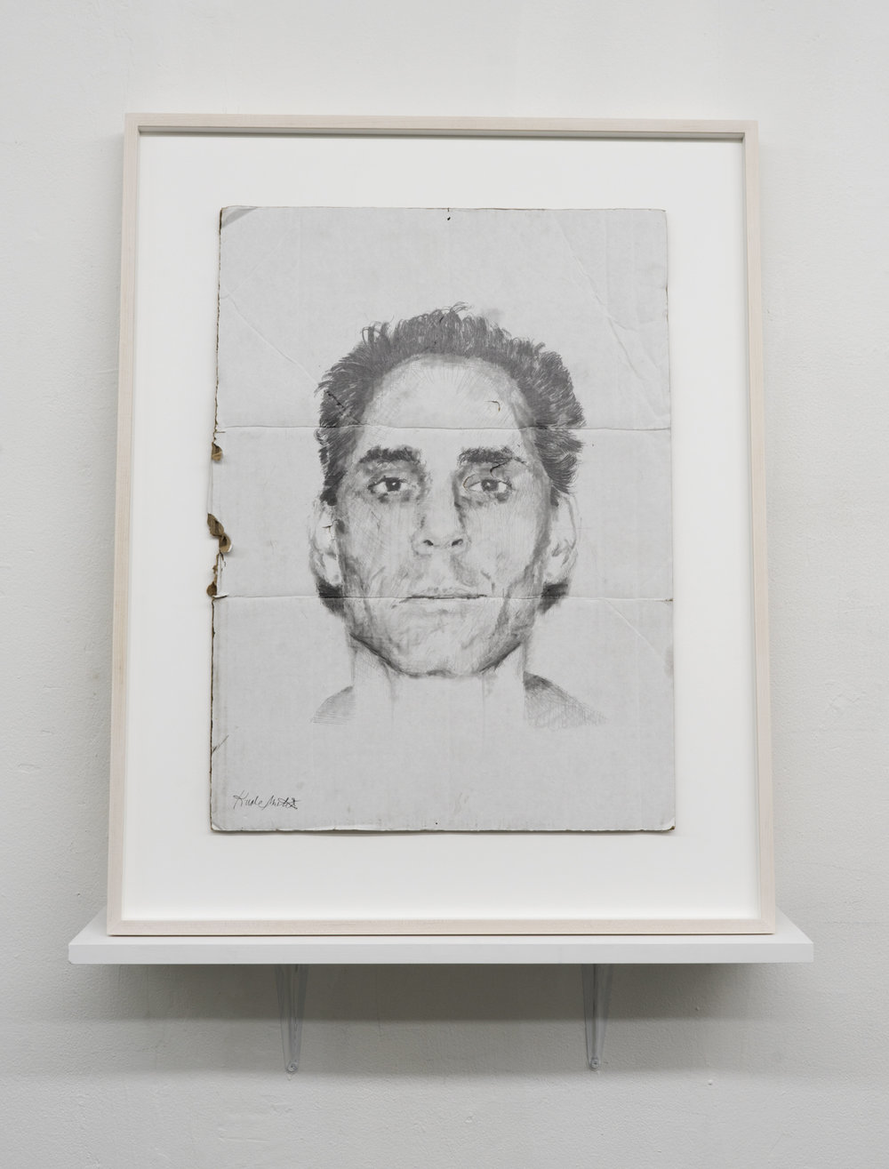 Kunle F. Martins,  Tony,  2019, pencil on found white cardboard box, 29 × 23 ½ inches
