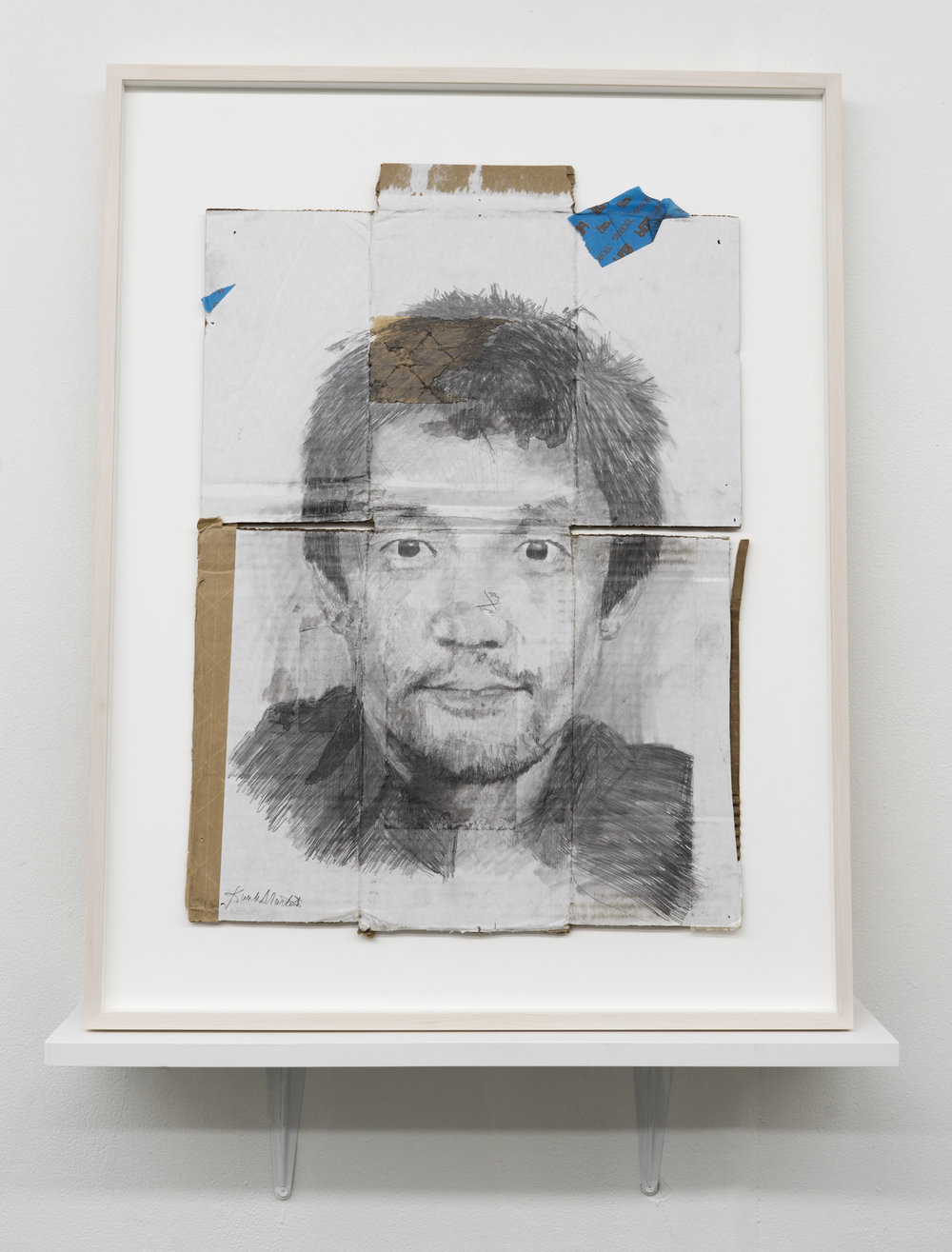Kunle F. Martins,  Kenji, 2018,  pencil on found white cardboard box, 29 ½ × 23 inches