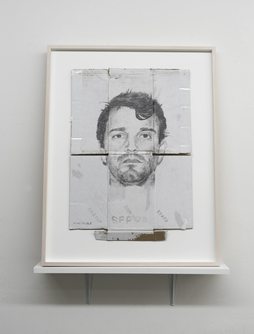 Kunle F. Martins,  Matt, 2018,  pencil on found white cardboard box, 30 × 23 ½ inches