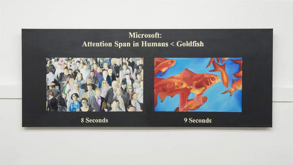 FLAME,  Untitled (Attention Span),  2018, oil and acrylic on canvas, 27 ½ × 70 ⅞ inches