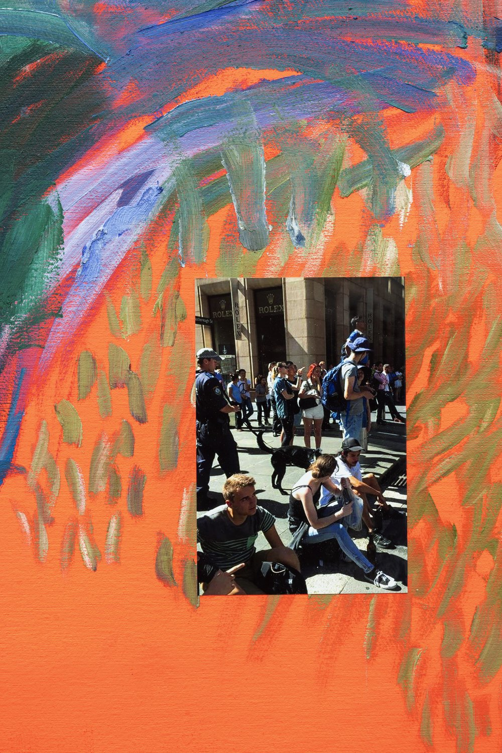 """George Egerton-Warburton,  Penal Café: Café Confidential , 2014, oil, flashe, photograph of spectators drinking beer and watching the """"Sydney Siege"""" at the Lindt café, 47 1/4 × 59 1/4 inches (detail)"""