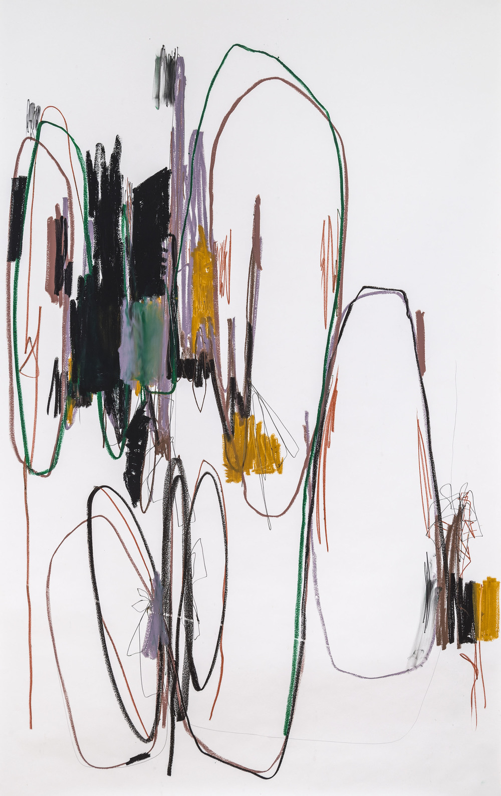 Upper West Side   Hook & Eye Project - Mary Prescott, piano  2014  oil stick, charcoal & pencil on paper  66x38""