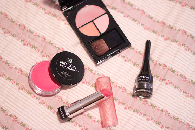 revlon photoready cream blush in flushed, revlon photoready sculpting blush palette in pink rose, revlon colourstay gel eyeliner and revlon lip butter in peach parfait