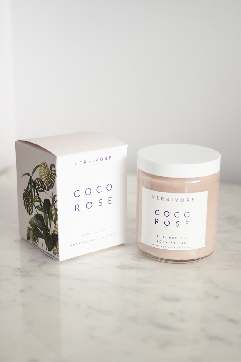 - And finally, my last VIB sale purchase was the Herbivore Coco Rose Body Polish (AU). I'd been looking at this for such a long time but couldn't imagine a world in which I would spend over $40 (with tax) on a body scrub that I know is basically just sugar and coconut oil.It's not worth this much money in a practical sense, and the glass packaging is actually a nightmare waiting to happen in a shower product, but I had 20% off and it looks so ludicrously beautiful that I just did it.It's lovely to use and look at, it smells faintly of rose, and I find it nicely hydrating on the skin due to the coconut oil and shea butter. I keep this on my bathroom shelf and only get it out for a bath-time treat for two reasons: a) the (lovely but impractical) packaging is a simple white label on a glass jar and I don't want it to get ruined by water from the shower, and b) it's v. expensive and I don't want to plough through it.Yes, it's a cliché beauty blogger move and I know I'm a sucker. Is this worth the money? No. But do I bloody love it? Yes.