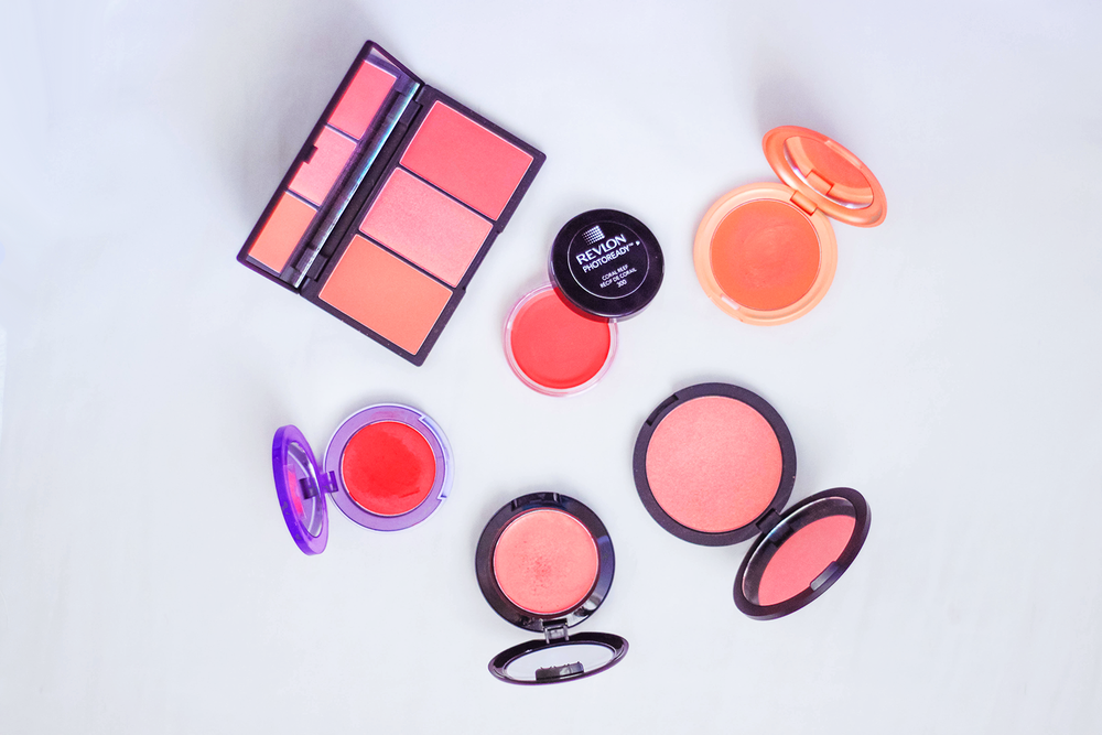 sleek blush by 3 palette   in lace |   revlon photoready cream blush   in coral reef |   stila convertible colour   in gladiola |   dainty doll powder blusher   in you are my sunshine |   NYX rouge cream blush   in tickled |   urban decay afterglow glide on cheek tint   in bang