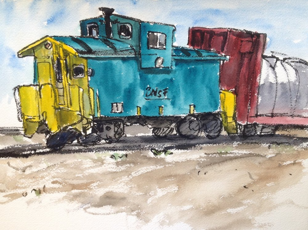 I was attracted to this caboose because of its fabulous color combination of turquoise/teal and bright yellow! Super cute!