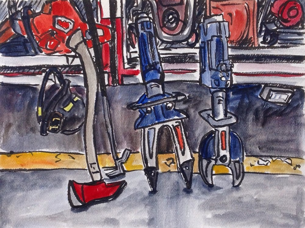 The firefighters came by to see what I was working on, and kindly pulled several pieces of rescue equipment out of one of the trucks to arrange it for me. Painting this got interrupted THREE times before I finished it (It usually takes me  between 45 minutes to an hour and an half to do a sketch).