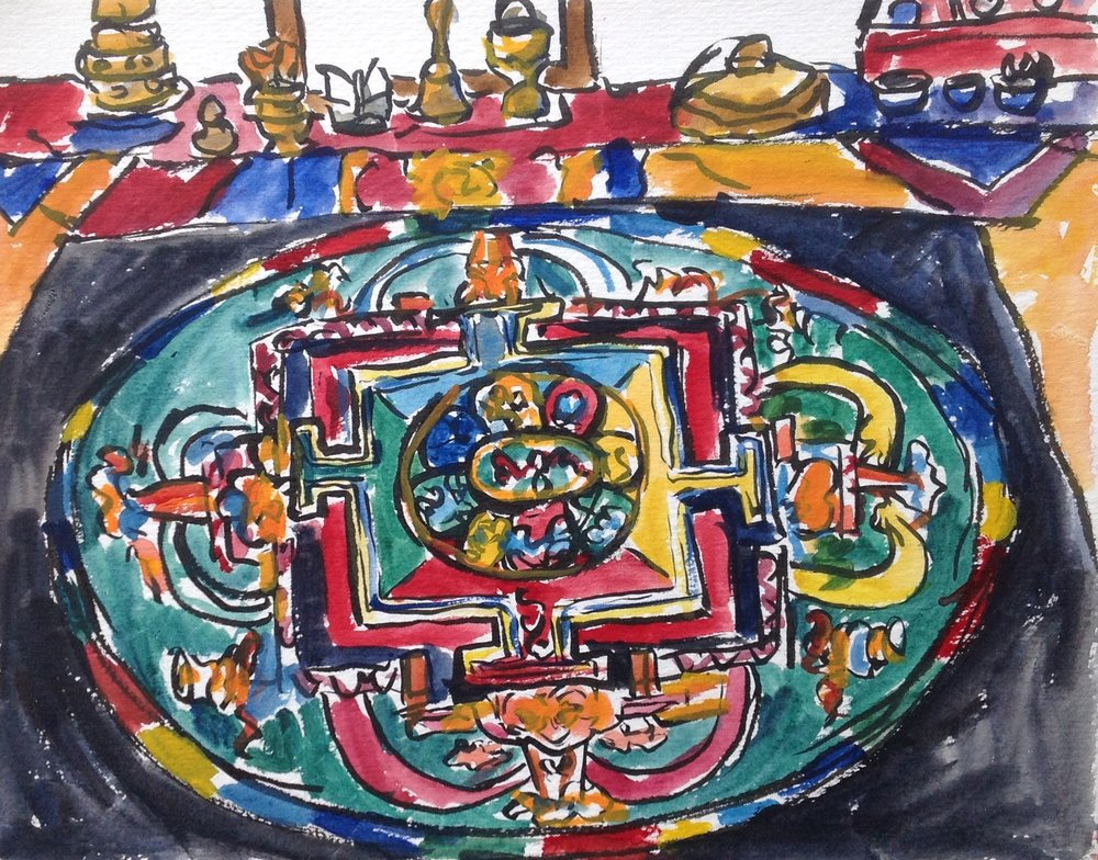 This is my impression of the finished mandala on its black table. Musical instruments and other mysterious objects are on the table behind the mandala. I was blown away by the detail in the mandala and the 3-D quality. Some of the edges look like they were frosted. Gorgeous!
