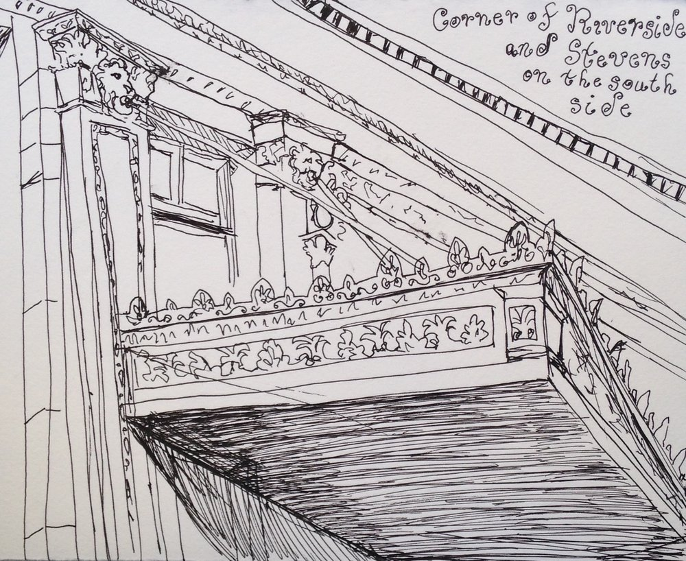 I decided to use a pen with a smaller nib for this sketch in the hopes of having an easier time capturing the detail in this building's carved overhang, but it was still a little tight, so I had to abstract the patterning.