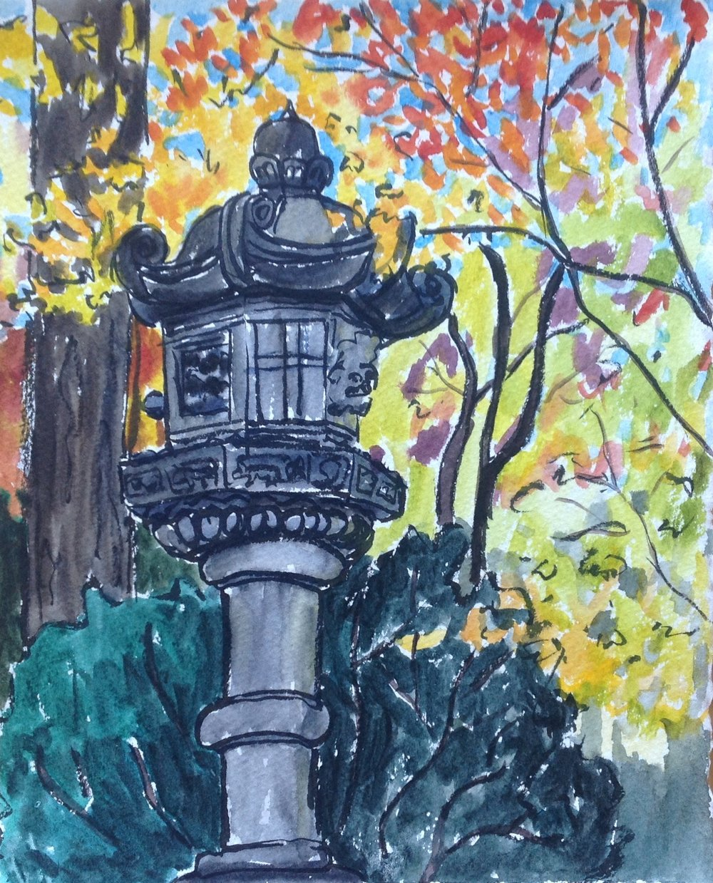 I just LOVE the color behind this stone lantern. Absolutely GORGEOUS and so much fun to paint! This is the most recent sketch I did at the garden and the foliage is really at its peak!