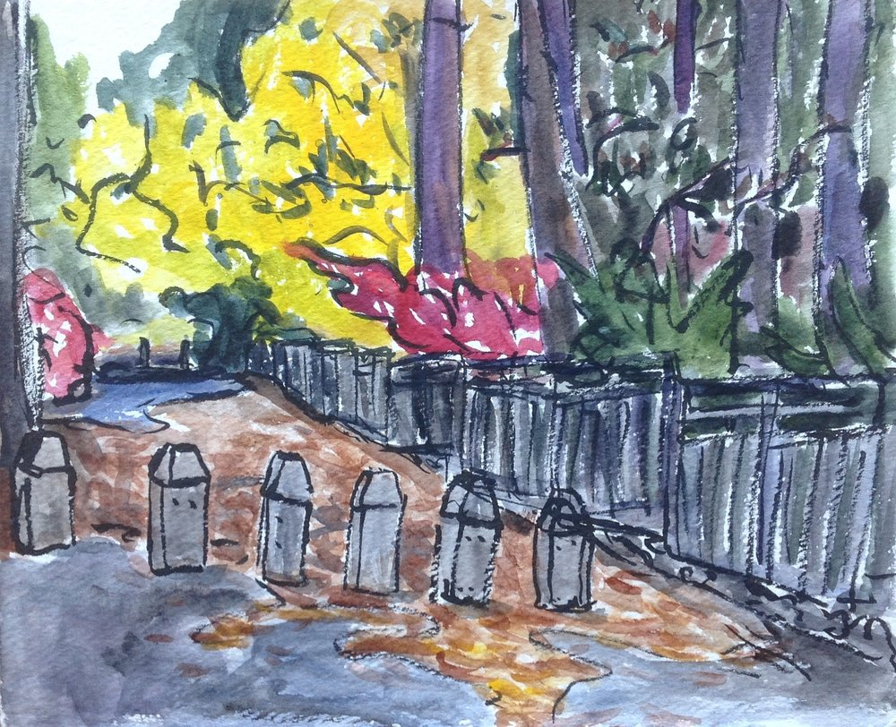 As I was walking into the garden, I saw this view. The gold at the end of the path along the outside garden fence caught my eye and when I needed a break from over 2 hours of sketching on a chilly day, I got into my car, cranked on the heat, and painted this!