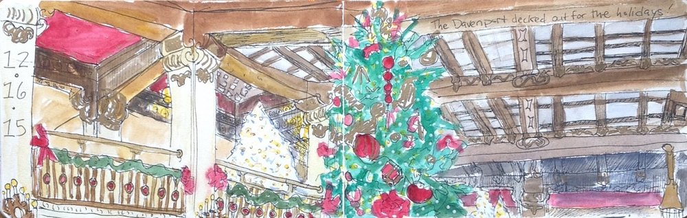 I did this sketch when I stopped in two years ago to take in all the holiday decorations. A live pianist was playing Christmas music as I sketched. It was pretty much perfect.