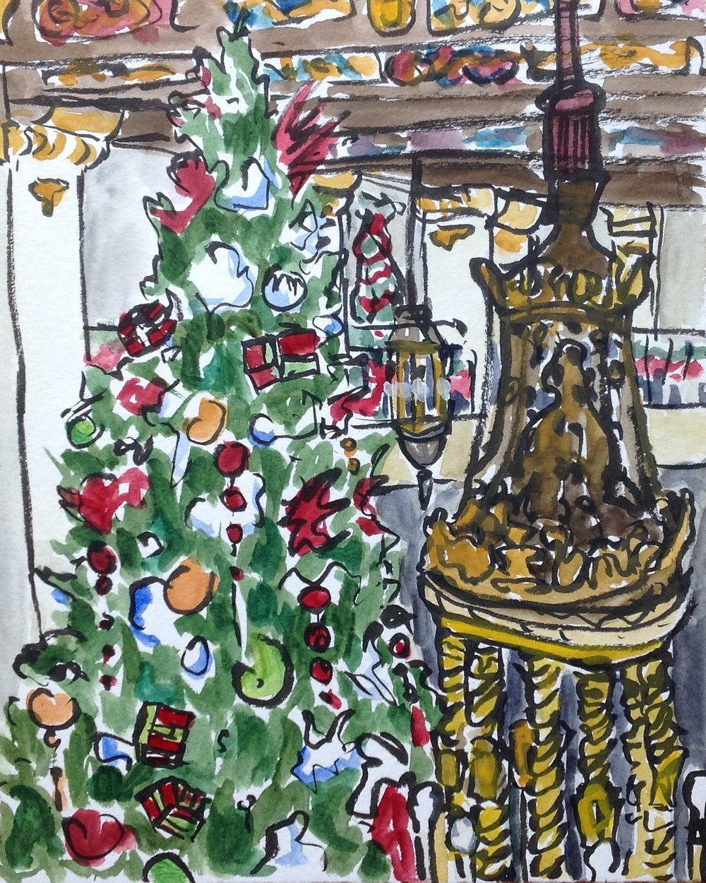 Here is this year's take on the giant Christmas tree. Rather than trying to sketch from ground level, I took to the second floor and found a little table to work at. I got an up close look at the giant lanterns as a bonus!