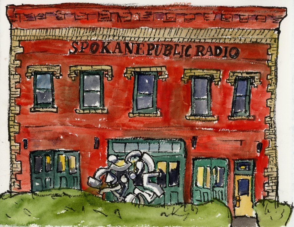 Here is the Spokane Public Radio Station with its fabulous Harold Balazs sculpture out front. Spokane Art Supply is right next to it, so I see it a lot! There is a video on the Spokane Public Radio website of musicians drumming and playing with the sculpture and its inauguration.