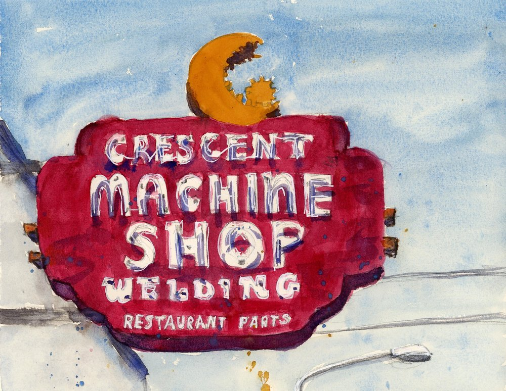 Spokane has a lot of amazing vintage signs and this is one that I've always admired. The crescent moon with gear teeth is such a creative touch! This building is no longer the Crescent Machine Shop (I think it might be being used by the next door restaurant for storage or prep? Unsure), but I'm glad that they kept the sign!