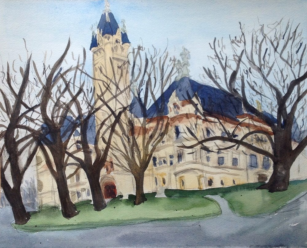 "This painting is bigger than the others-11"" x 14"", in an attempt to try to get most of the courthouse in. I decided to try something different, forgoing my beloved Pentel Pocket Brush. The trees in front of the courthouse are beautiful with their bare branches and now make me want to come back and try to capture them in the fall as well."