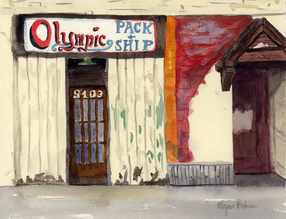 The shocking orange and red colors down a side street caught my eye as I was walking around the Hillyard Neighborhood. Then I saw the lovely hand lettering on the sign above the door and all the great peeling paint texture and I knew this had to be a painting! I have no idea if the Olympic Pack & Ship company are still in business, but it seems like this scene has a story to tell.