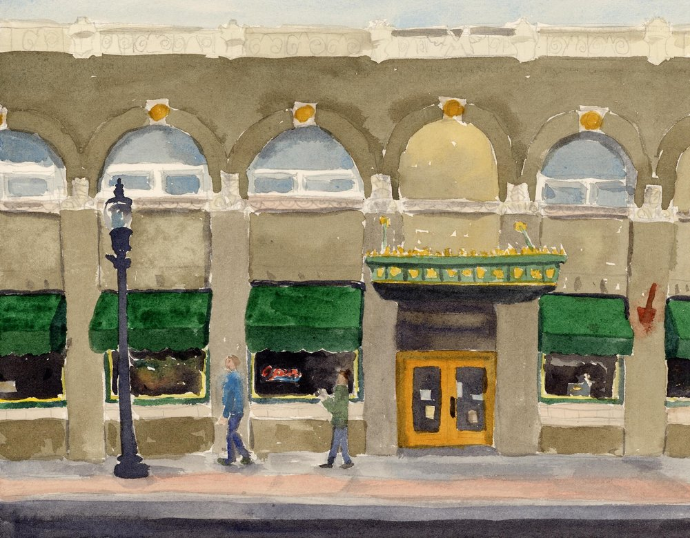 And now two!   I loved the green and yellow color scheme on this building. Beautiful! The rest of the scene is a series of subdued neutrals to set off the yellow and green.