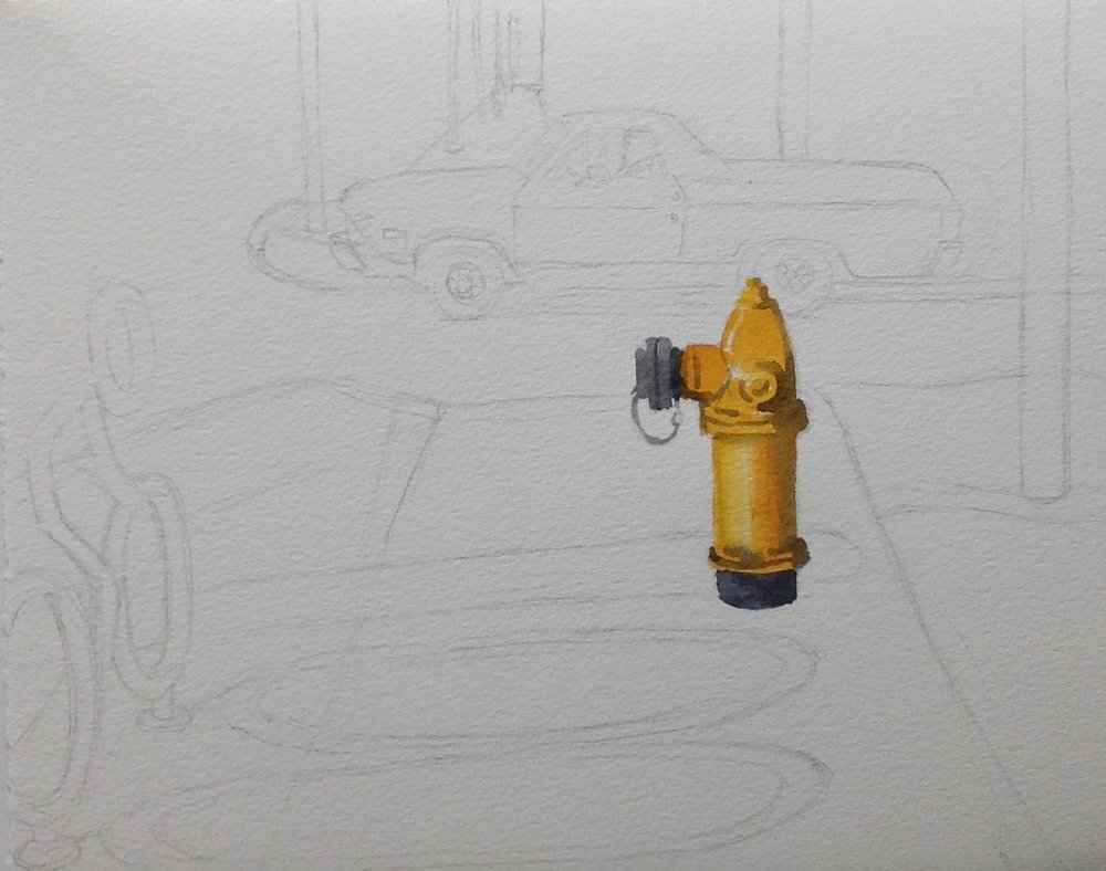I started the painting with the fire hydrant and I was tickled by the contrast between the fully realized fire hydrant and the drawing.