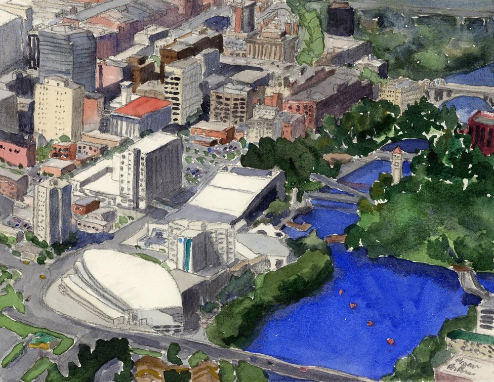 Clearly, this one was not painted from life-though if any one wants to put me in a helicopter to paint, I would love to! This was painted from a photo provided by the city. I love the blue of the Spokane River winding its way through the city. It really is a remarkable landmark.