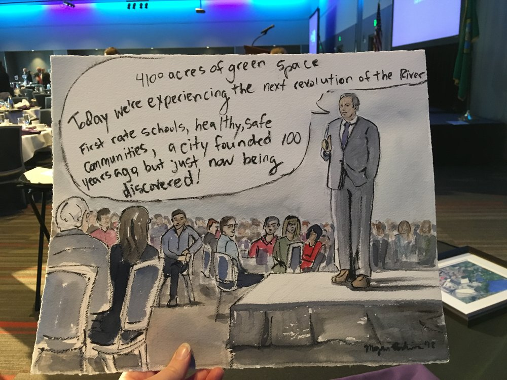 I also attended the State of the City and painted the mayor as he presented, live! I was sweating a bit, trying to get it all done in time, but I think it came out well.