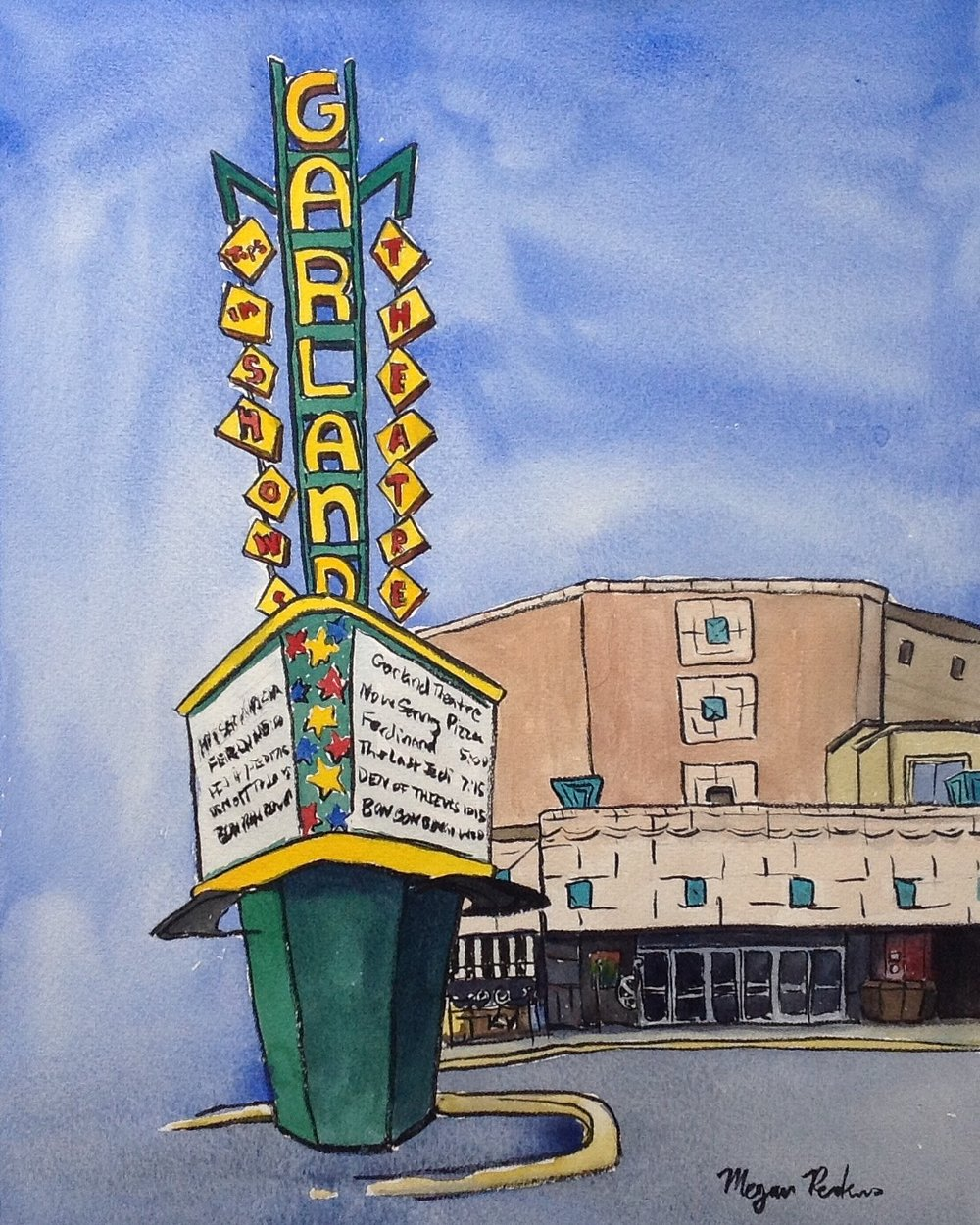 When I saw that the Garland Theater sign getting repainted this summer, I knew I needed to do another painting of it. Vibrant and still kicking after all these years! I've seen several delightful movies there in the past and for my brother-in-law's bachelor party, his best man rented out the theater so that all the family could come and watch movies for a night. It was a lot of fun!