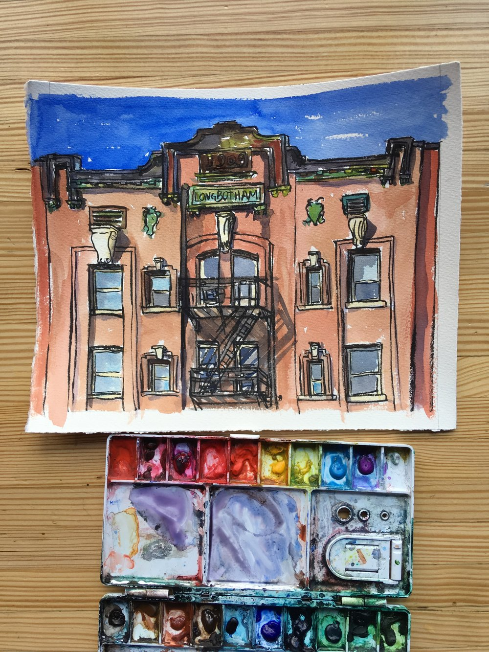 I think I need to do a bigger painting of this building-maybe something full scale from the crown to the sidewalk. Another one for the to-do list!