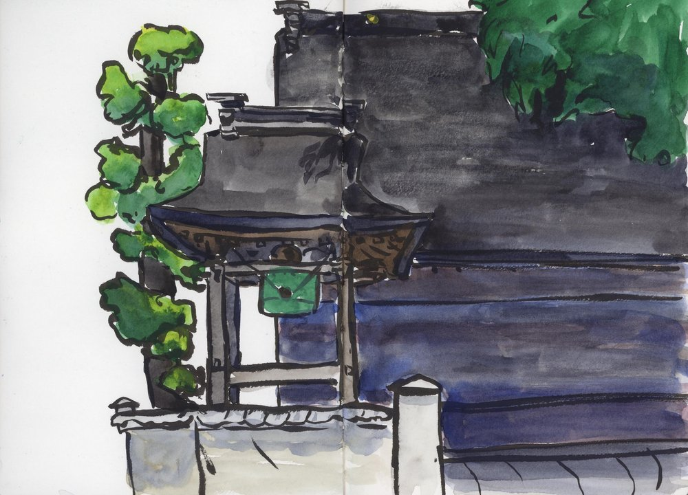 This was a simple temple not far from our hotel. In a quiet moment I ran out to sketch it.