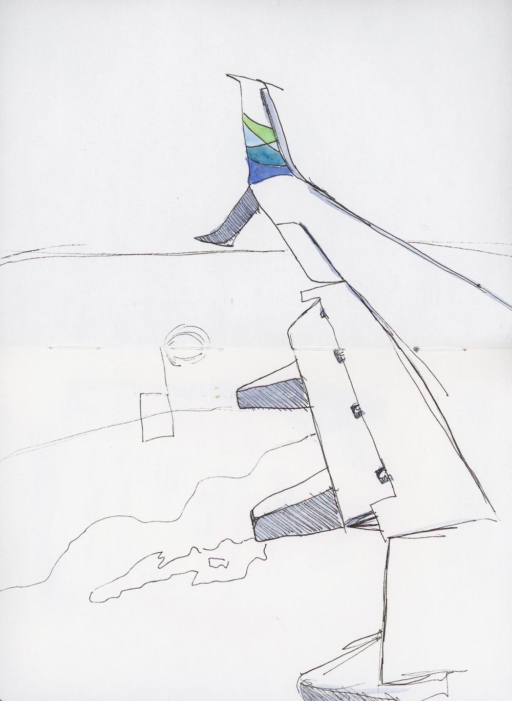 Back to my beloved Alaska Airlines and the commuter flight from Seattle to Spokane. I decided to make the 40 minute flight a good reason to be really minimalist with this sketch.