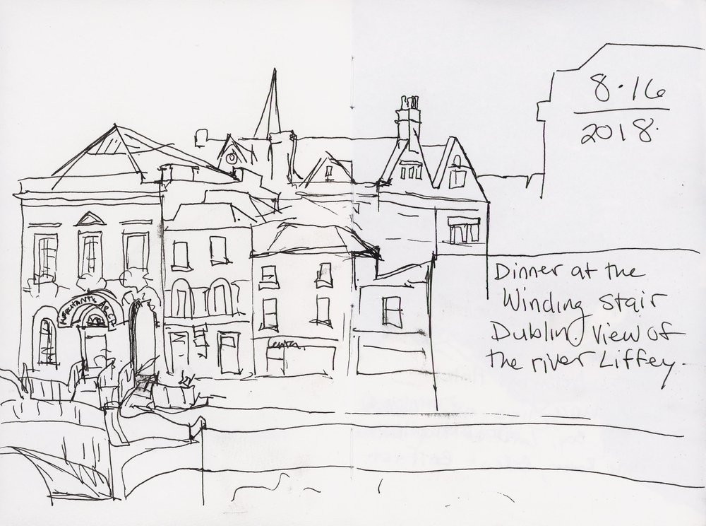 A quick sketch before an ENORMOUS bowl of mussels for dinner in Dublin.