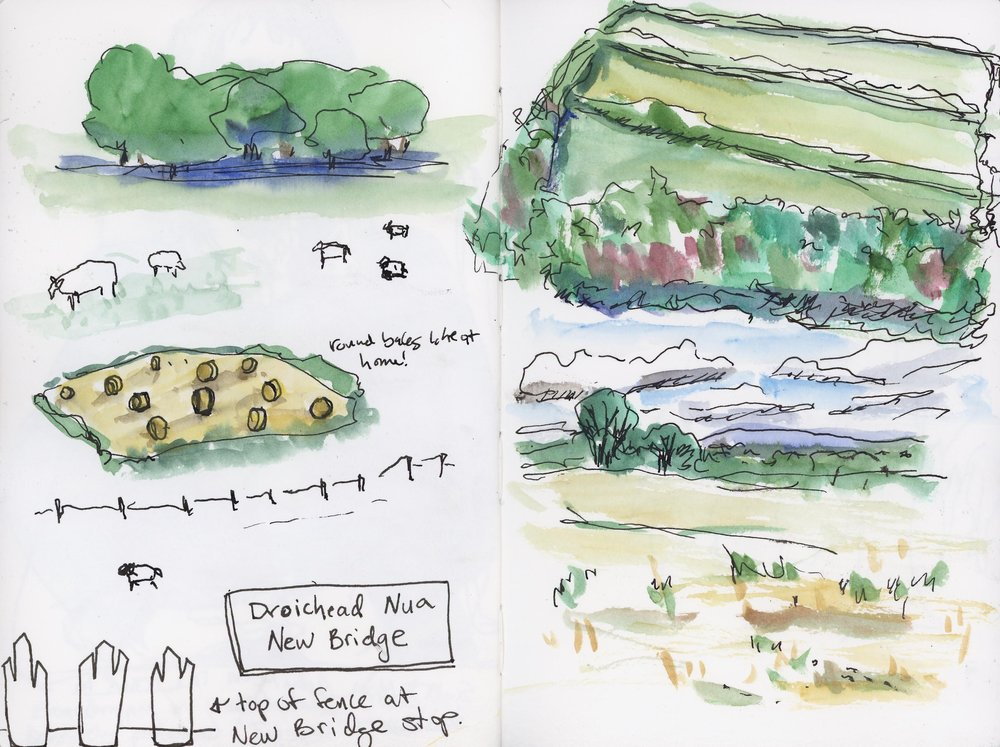 Small sketches of views from the train during which there was singing by passengers. In the US, if people sang on public transit people would kick you off the train!