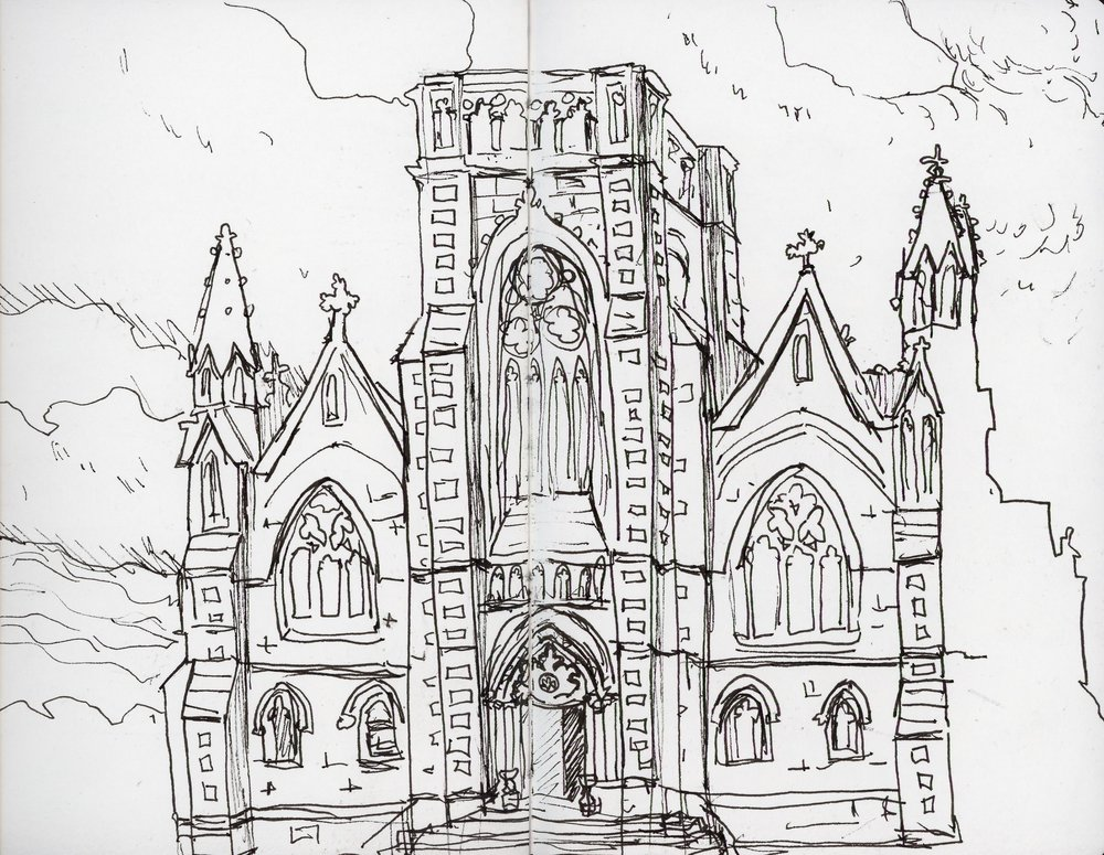 This drawing got made because we made a miscalculation about when our train back to Dublin left and I got a spare hour to sketch this Gothic beauty that was across the street from the station.