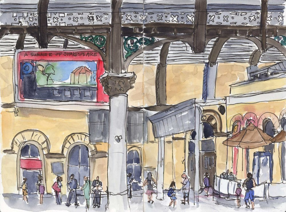 We continued on from Dublin to York (didn't manage to do much sketching there)and then up to Scotland. This is the York Train Station which when it was built in the late 19th century, was the largest train station in the world. I got this scene sketched in pen before Dad came careening around the corner to tell us that our train was here and we needed to MOVE. Mom and I grabbed our stuff and booked it down the very long platforms and caught out train to Edinburgh. I painted it later based on some quick photos and memories.