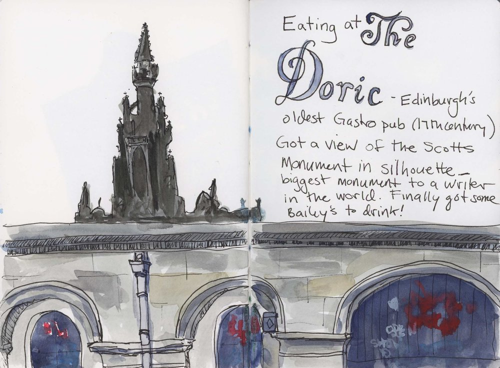 Sketched while waiting for fish and chips at the Doric in Edinburgh. The Walter Scott monument peeked out from above this wall. It is the largest monument to a writer in the world. Edinburgh is a very literary city.   Next up: Adventures in trying to get home and what I brought back.