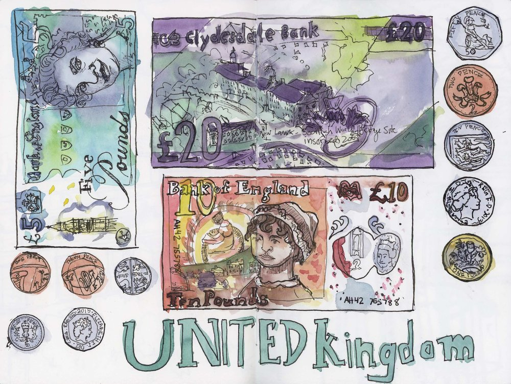 I drew various bills during the trip and drew the coins when I got home (coins and a couple of fivers were what was left at the end of the trip, no worries, I'm sure I'll be back in the UK eventually!), adding paint all at the end. Money in the UK is interesting and shows how we're a bit of an odd duck with our purely paper, one size, all green money. This stuff is plastic-y (goes the wash great, but apparently can get stuck together which is no good when paying bills!), has clear sections, is different sizes at different denominations and comes in all sorts of colors. I enjoyed seeing the difference between bank notes issued by the Bank of England and those by the Bank of Scotland. A theme among everyone though? So many drawings of Queen Elizabeth!