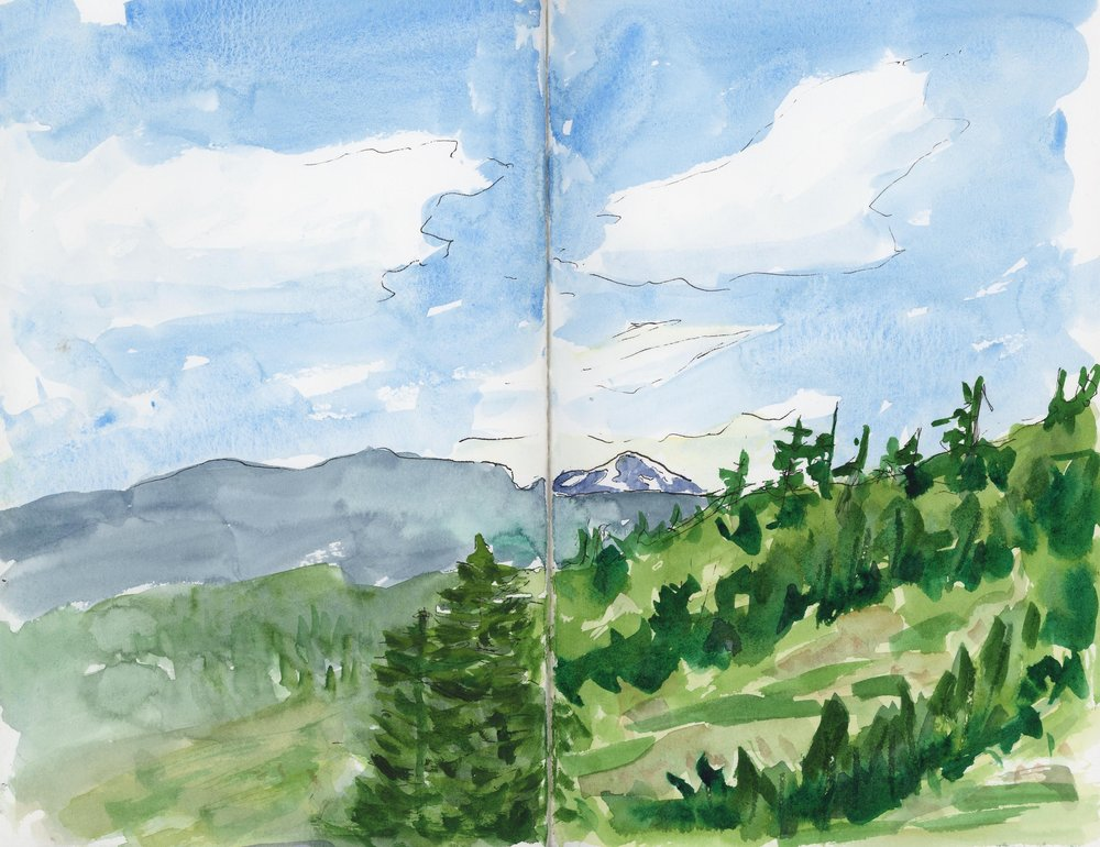 In June, I spent a short weekend with college friends in Leavenworth to celebrate our 30th birthdays. I did this sketch on the deck on a cold and windy morning, in love with the view.