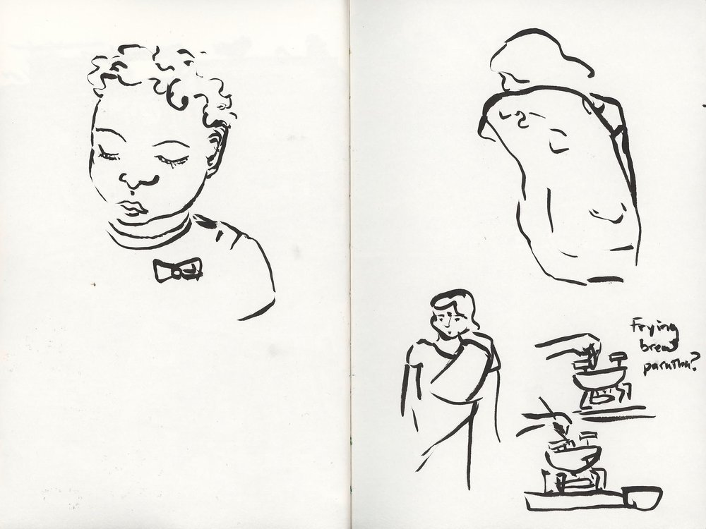 Quick sketches of our friend's maids who came once a day to sweep and mop, and a sketch of their two year old.