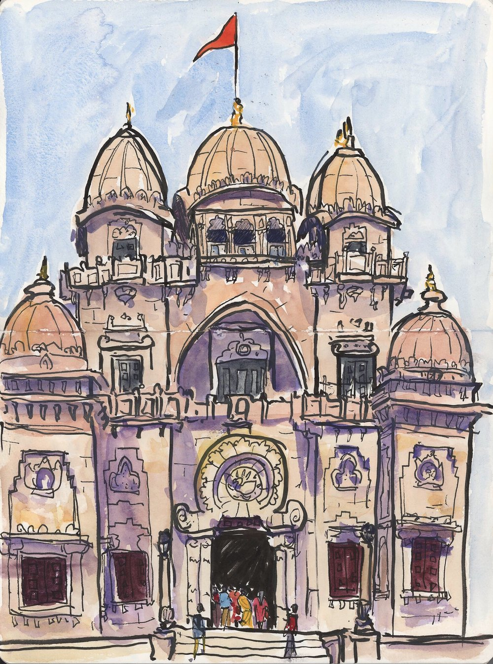 This is the main temple at the Belur Math complex in Kolkata. This is probably my favorite sketch from the entire trip. We found a place in the shade and I spent a little over an hour doggedly working on this sketch, trying to finish before they kicked us out (they close midday and then open again in the late afternoon). As was usual, we attracted a lot of attention and people drifted over to either ask us for a selfie (For real, so many requests while we were there. We had to have a strict no selfie policy or else that is all we would have been doing!) or to see what I was up to. We had some nice conversations with some other families enjoying the shade as well.