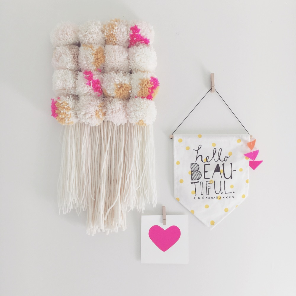 Banner and Pom Hanging  by Marshmello. Heart Print by Lauren Smallfield Creates.