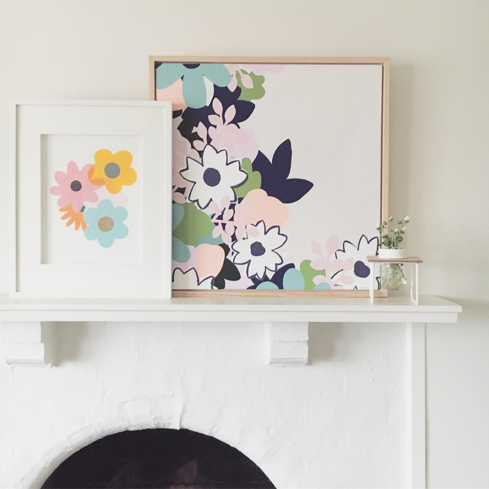 Posy Print by Lauren Smallfield Creates. Pink Lemonade Painting by Rebecca Kate Artist.