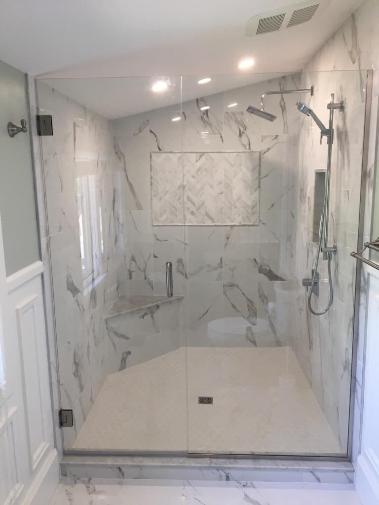 The shower was one of the features of this traditional bathroom design.