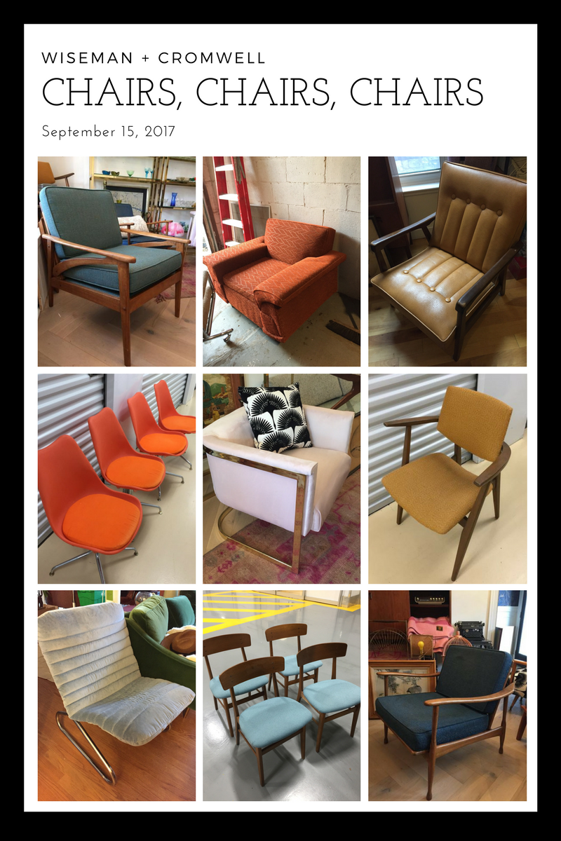 First row L-R. Birch and turquoise mid century lounge chair $795; Retro orange armchair (not listed online) $250; Tan Canadian mid century chair (not listed online) $250. Second row L-R. Orange retro dining chairs (4) $125 set; Bleeker St Chair $695; Jan Kuypers Armchair (part of a set of 6) $750 set. Bottom row L-R. Apollo Chair (debut at EtsyMadeinCanada) $750; Farstrup dining chairs (4) [coming soon!]; Italian mid century armchair $495.