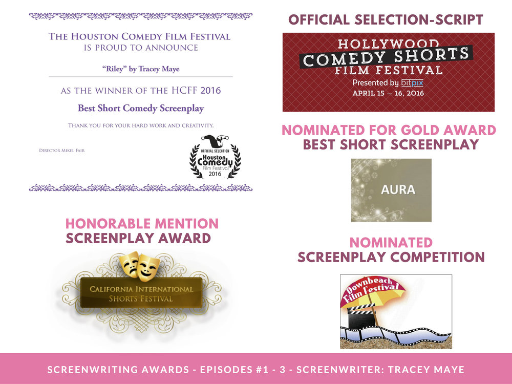 RILEY PRESS KIT - PAGE 4 (Screenwriting awards) - CLICK FOR HIGH RES JPEG