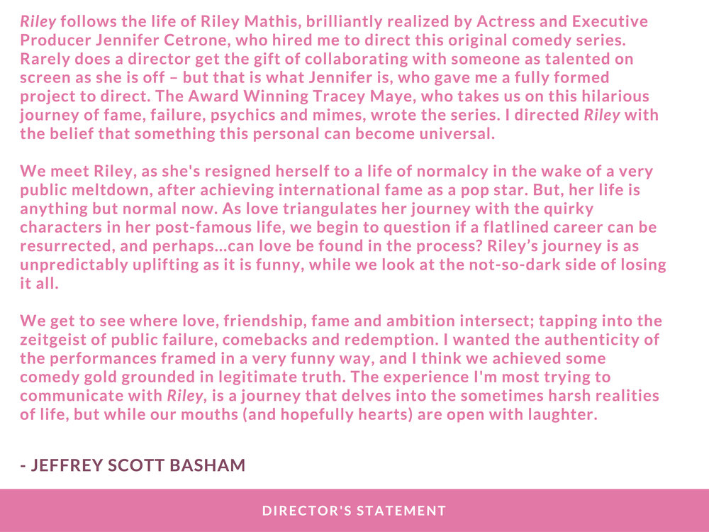 RILEY PRESS KIT - PAGE 7 (DIRECTOR'S STATEMENT) - CLICK FOR HIGH RES JPEG