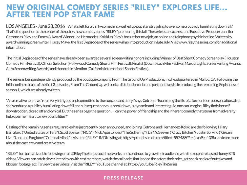 RILEY PRESS KIT - PAGE 14 (press release #1) - CLICK FOR HIGH RES JPEG