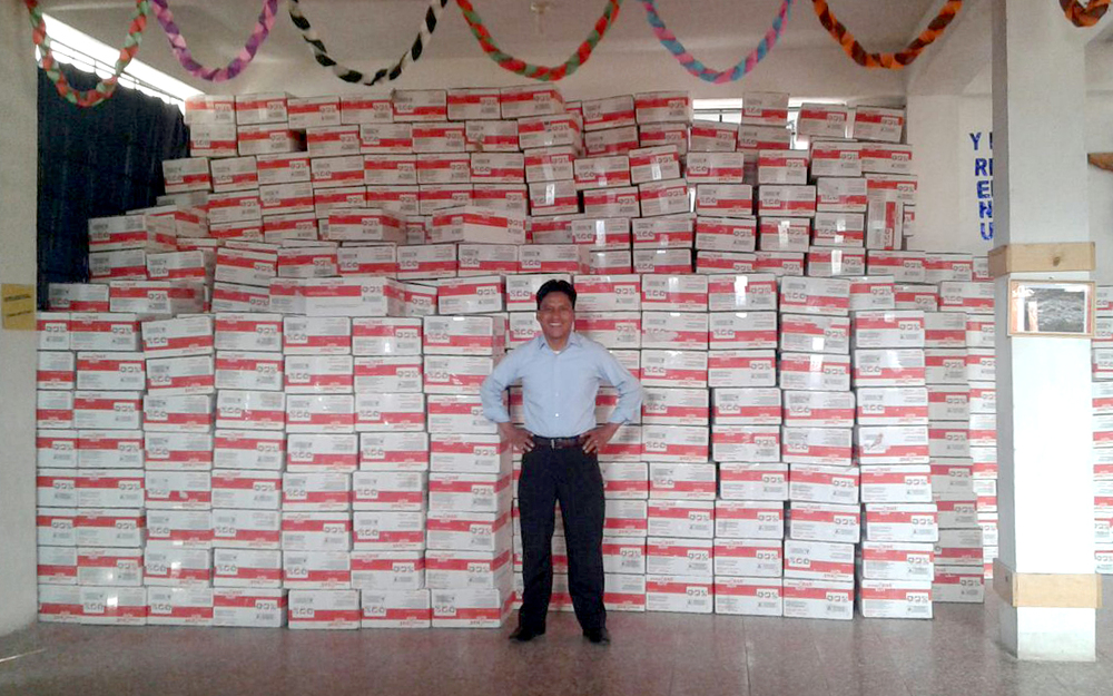Our nutrition program lead Mario de Paz on in front of our latest shipment of PlumpyNut, which will be distributed to between 3,000 and 4,000 severely malnourished children.